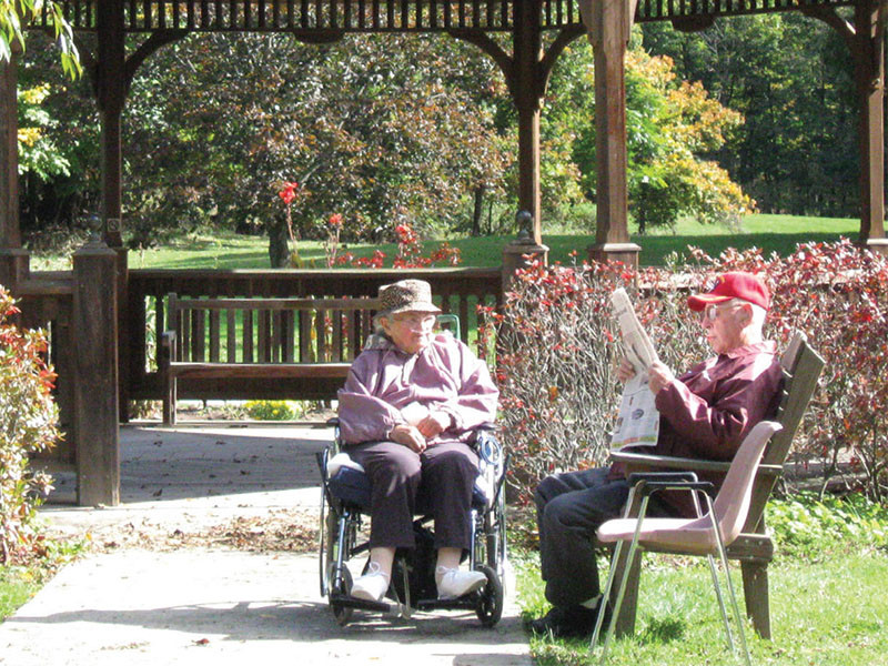 sitting outdoors at ArchCare at Ferncliff