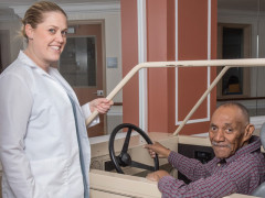 Mary Manning Walsh rehabilitation nurse working with a senior man
