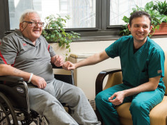 patient and therapist at Central Park Rehabilitation Center at Terence Cardinal Cooke Health Care Center
